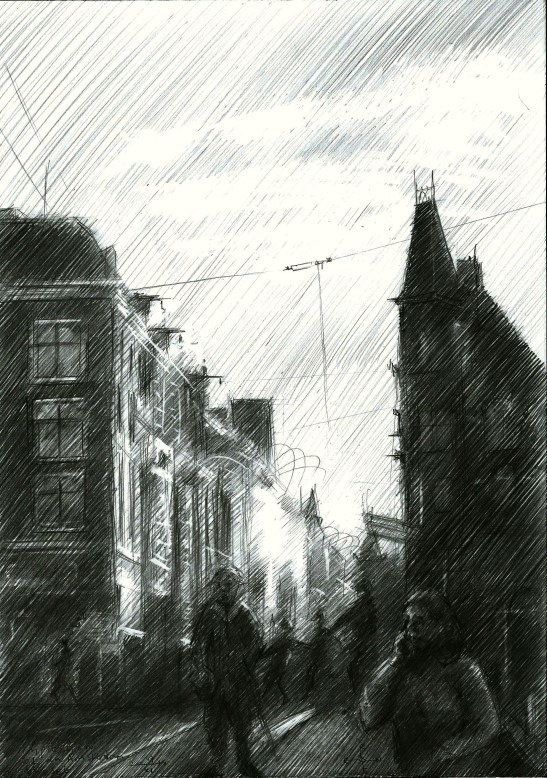impressionistic urban graphite pencil drawing