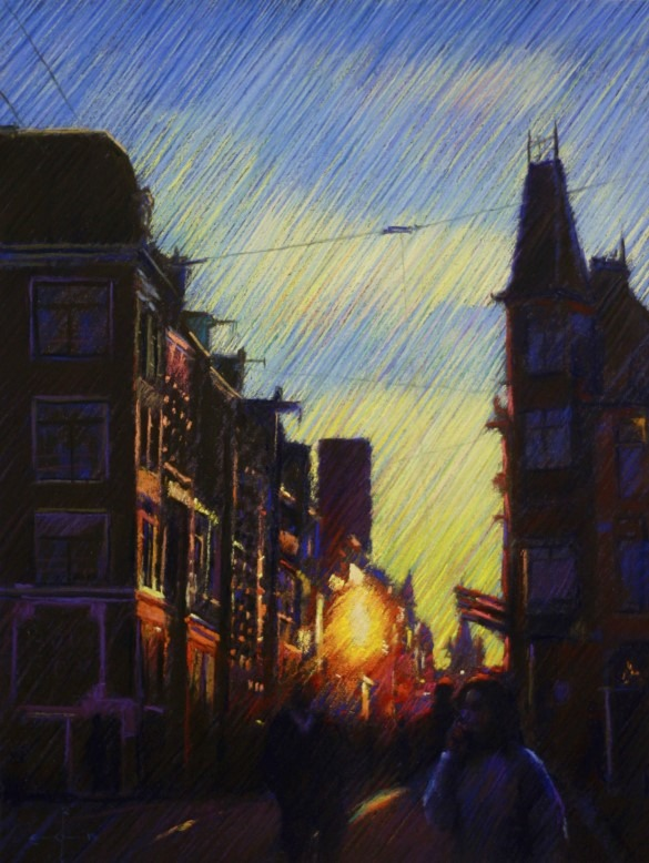 impressionistic cityscape pastel drawing