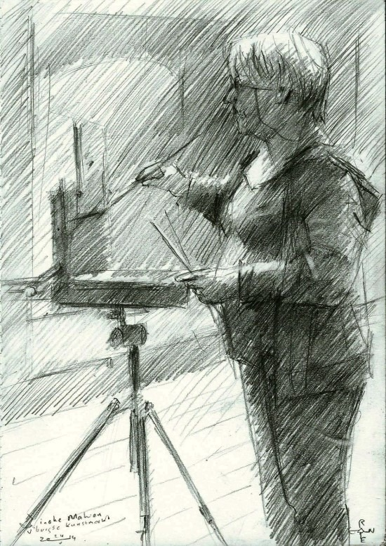 impressionistic portrait graphite pencil drawing