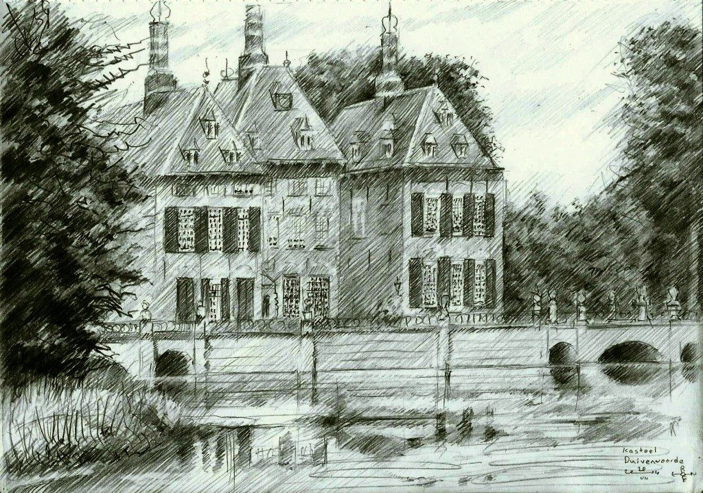 impressionistic castle graphite pencil drawing thumbnail