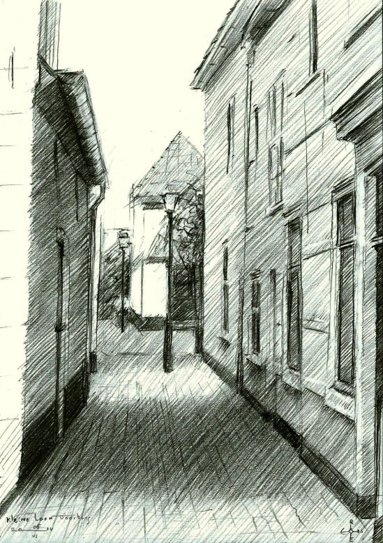 realistic urban graphite pencil drawing