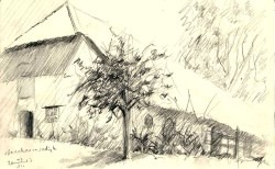 realistic farmhouse graphite pencil drawing thumbnail