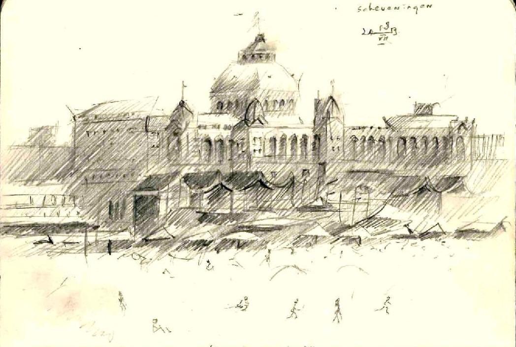 impressionistic mansion graphite pencil sketch