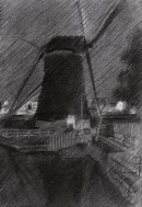 impressionistic mill graphite pencil drawing thumbnail