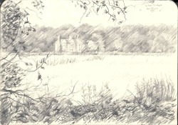 impressionistic landscape graphite pencil drawing thumbnail