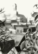 impressionistic urban graphite pencil drawing thumbnail