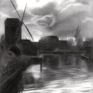 surrealistic cityscape graphite pencil drawing
