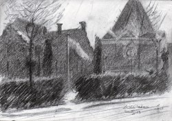 impressionistic urban graphite pencil sketch thumbnail