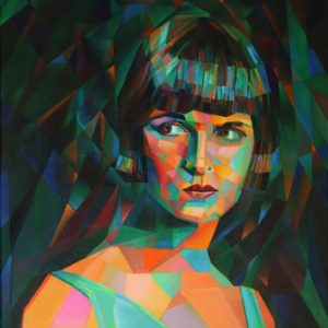 cubistic portrait oil painting of Louise Brooks