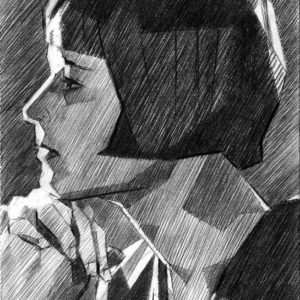 cubistic portrait graphite pencil drawing of Louise Brooks