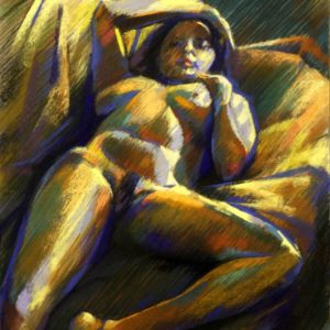 expressionistic nude pastel drawing