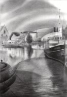 cubistic harbour graphite pencil drawing thumbnail