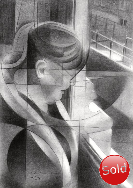 Cubistic portrait graphite pencil drawing