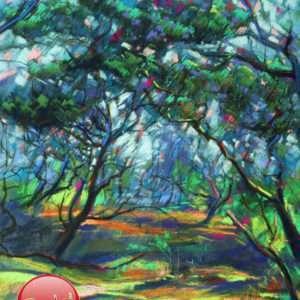 cubist treescape pastel drawing promotion