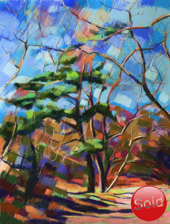 Cubistic treescape pastel drawing