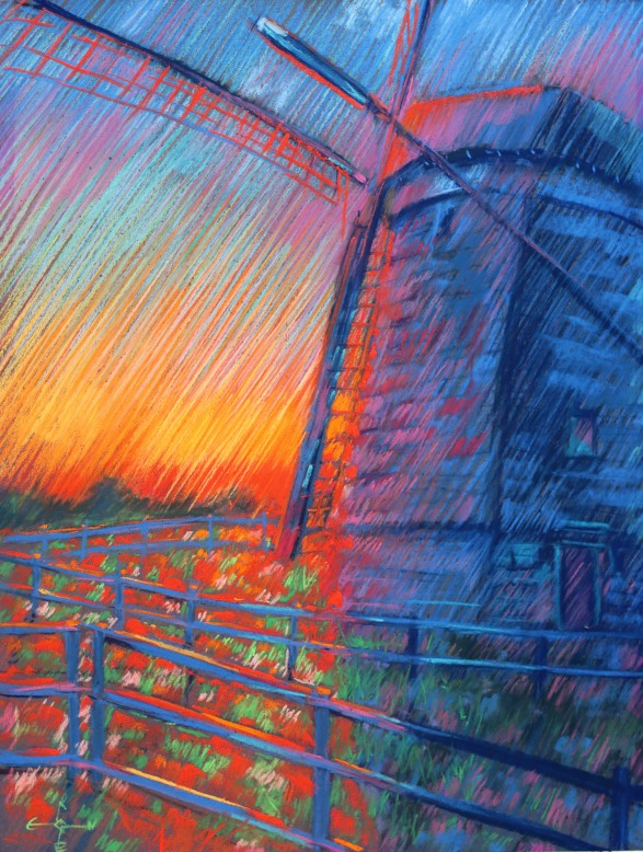 expressionistic landscape pastel drawing