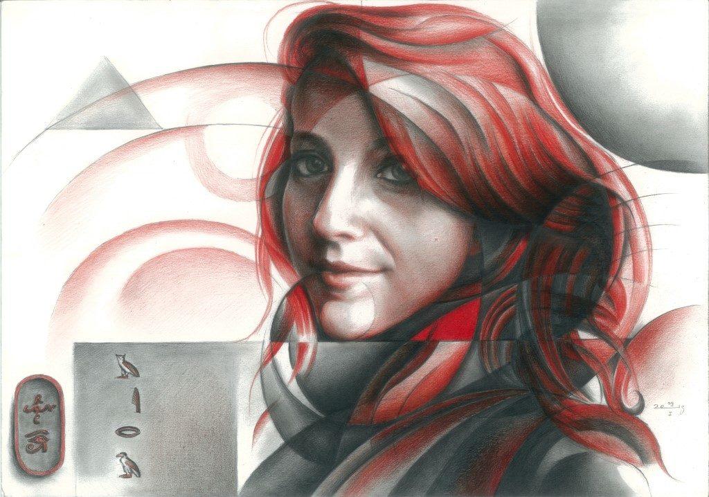 cubistic portrait colored pencil drawing