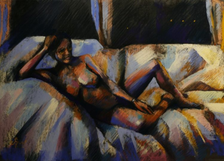 cubisic nude pastel drawing
