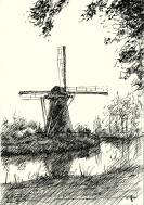 impressionistic mill pen drawing thumbnail