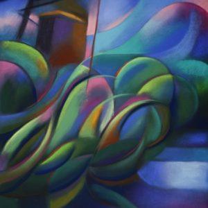 cubistic landscape pastel drawing