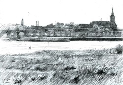 impressionistic cityscape graphite pencil drawing thumbnail