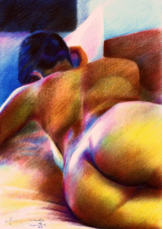 realistic nude colored pencil drawing