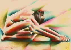 Cubistic nude colored pencil drawing thumbnail