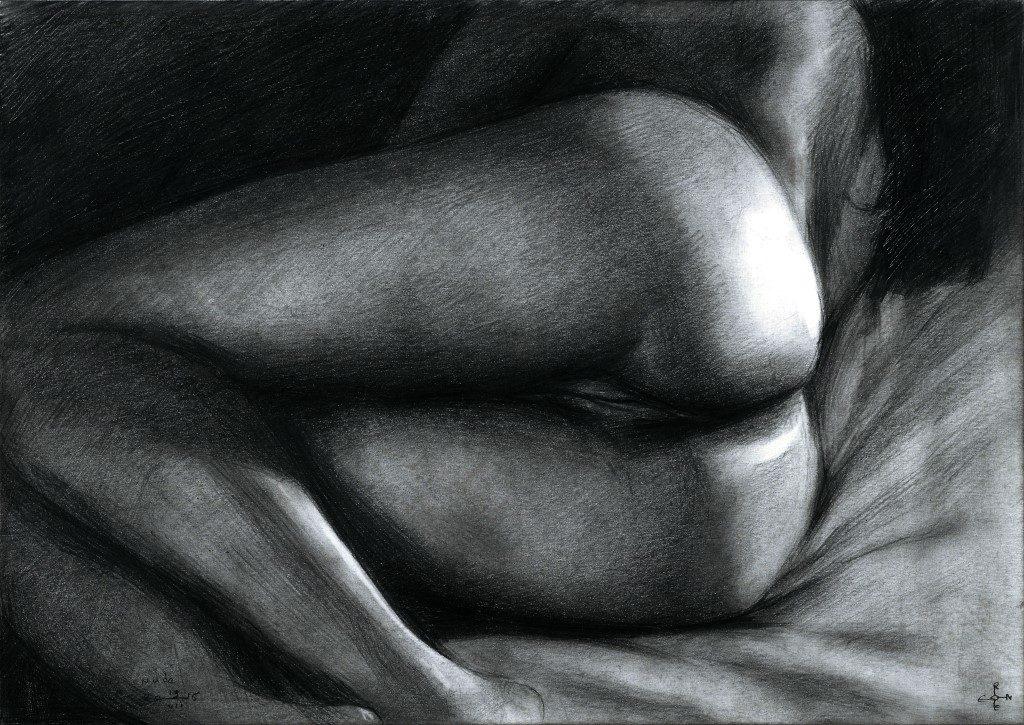 erotic nude graphite pencil drawing