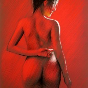 impressionistic nude pastel drawing in red