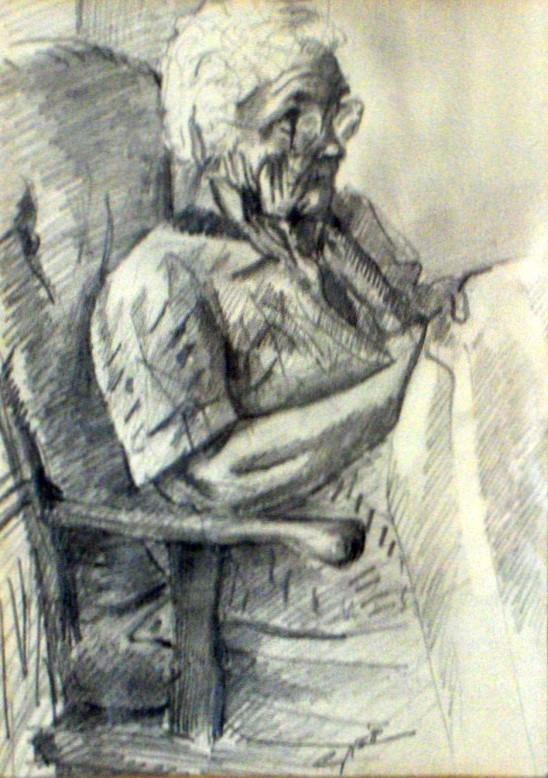 impressionistic portrait graphite pencil drawing