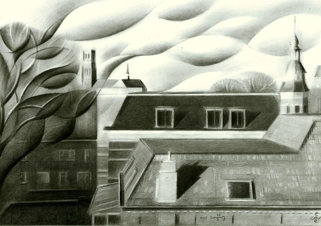 cubistic cityscape graphite pencil drawing advertisement