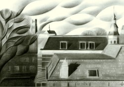 cubistic cityscape graphite pencil drawing thumbnail