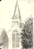 impressionistic church graphite pencil drawing thumbnail