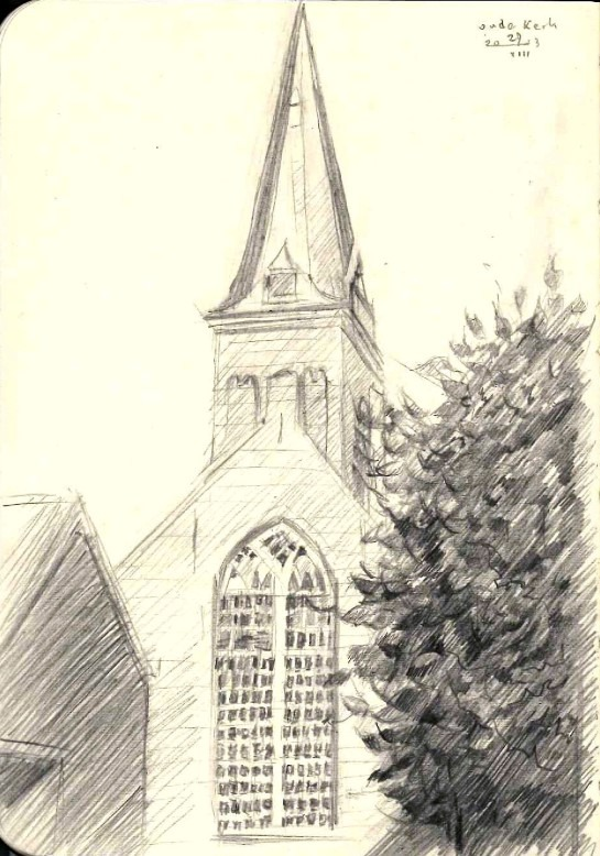 impressionistic church graphite pencil drawing