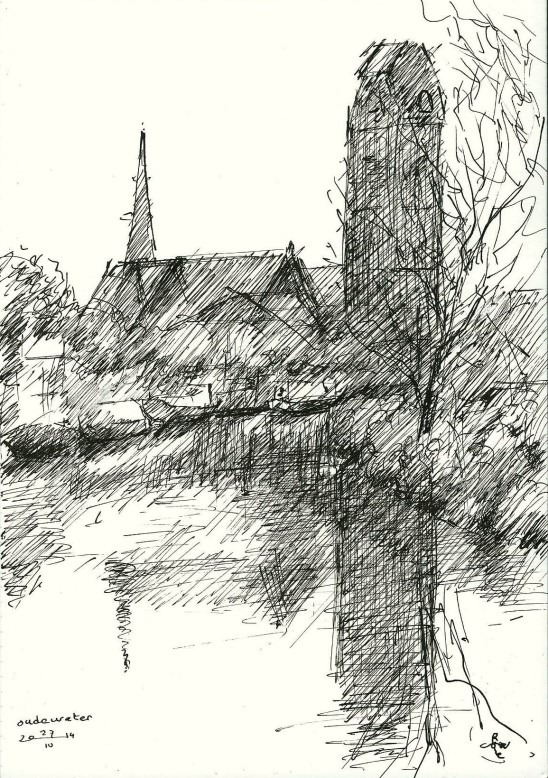 impressionistic cityscape pen drawing