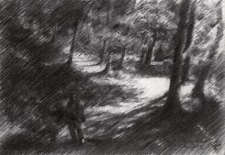 impressionistic treescape graphite pencil drawing thumbnail