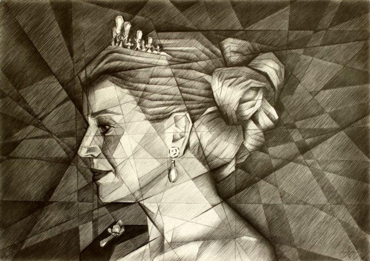 cubistic portrait graphite pencil drawing