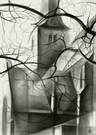 cubistic church graphite pencil drawing thumbnail
