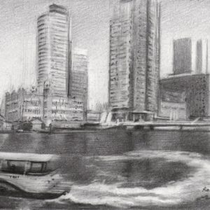 impressionistic cityscape graphite pencil drawing of Rotterdam