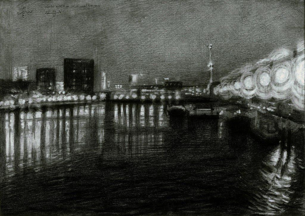 Impressionistic cityscape grapite pencil drawing