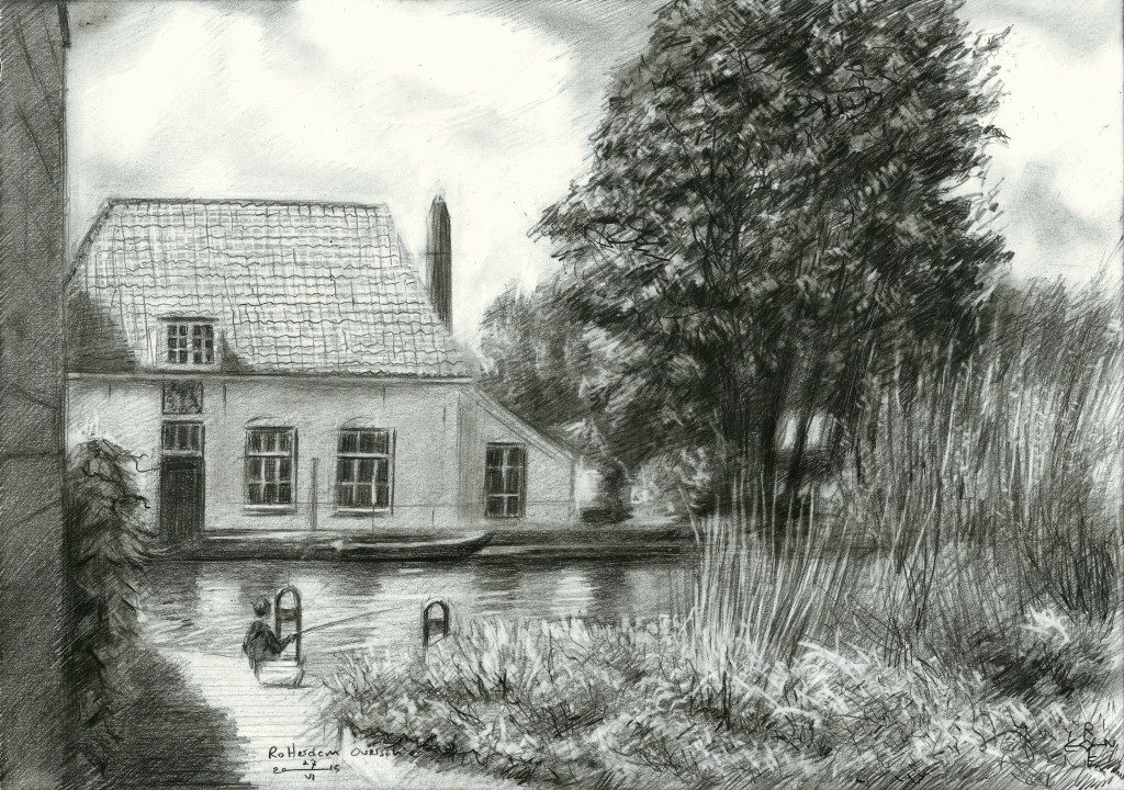 Impressionistic landscape grapite pencil drawing