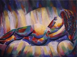 cubistic nude oil painting thumbnail