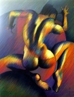 cubistic nude pastel drawing thumbnail