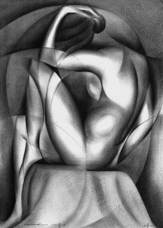 Cubistic nude graphite pencil drawing reflecting the rise of the Roundism style