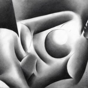 Realistic nude graphite pencil drawing