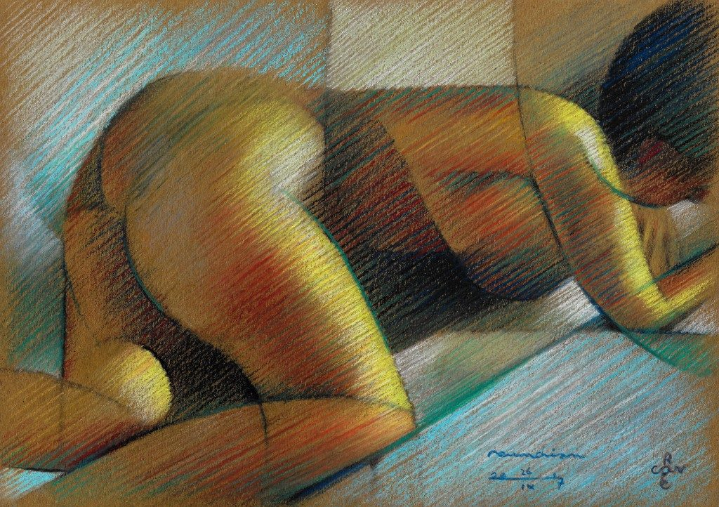 Cubistic nude pastel pencil drawing