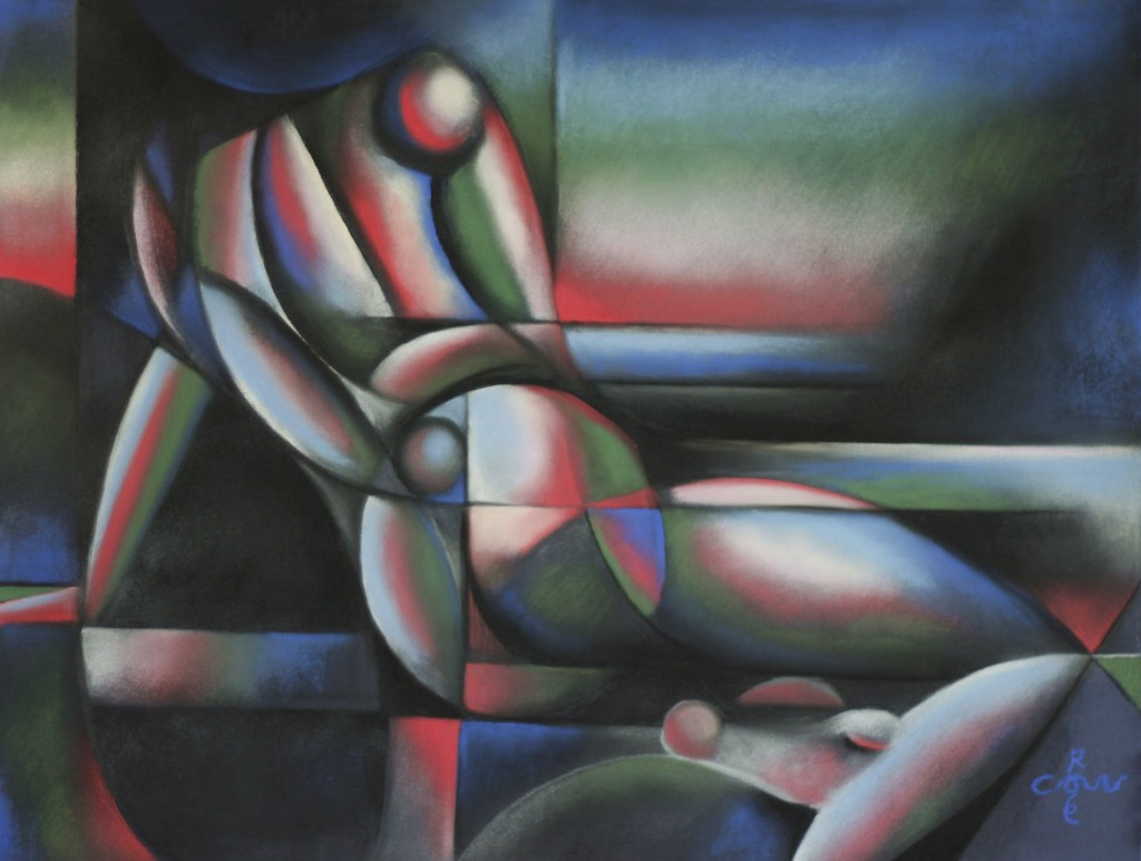 Cubistic nude pastel drawing