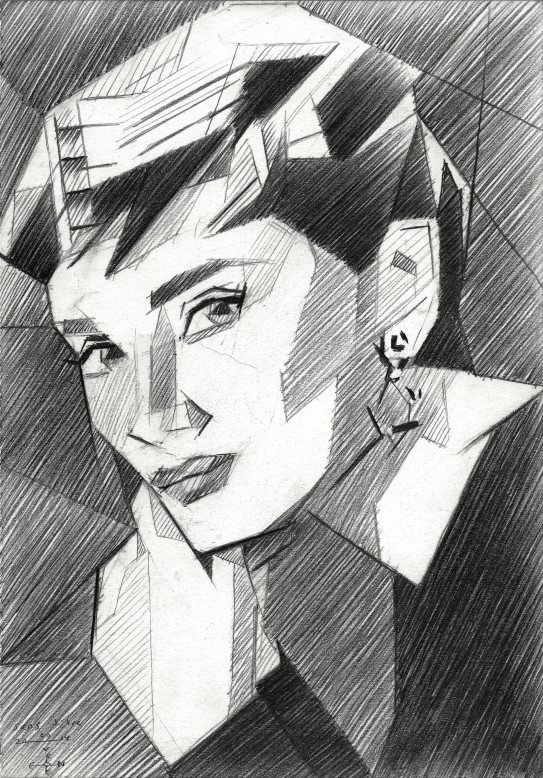 cubistic portrait graphite pencil drawing of audrey hepburn