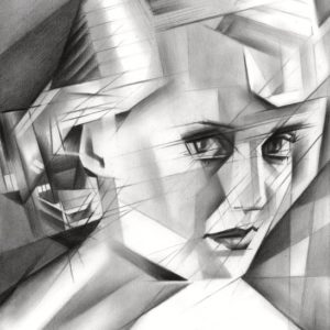 cubistic bette davis graphite pencil drawing