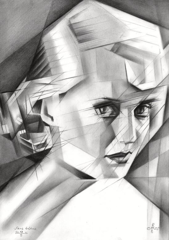 cubistic bette davis graphite pencil drawing